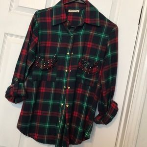 Christmas Plaid Button Up